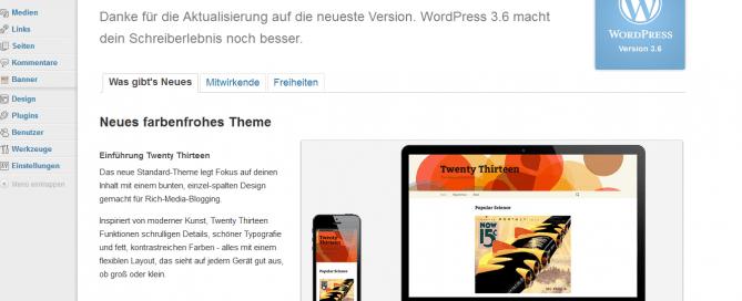 Wordpress 3.6. ist da