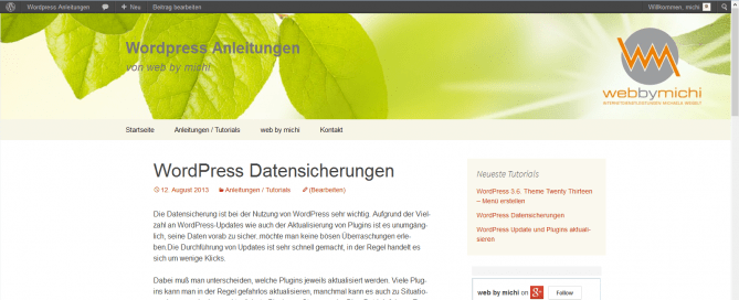 Wordpress Datensicherungen _ Wordpress Anleitungen
