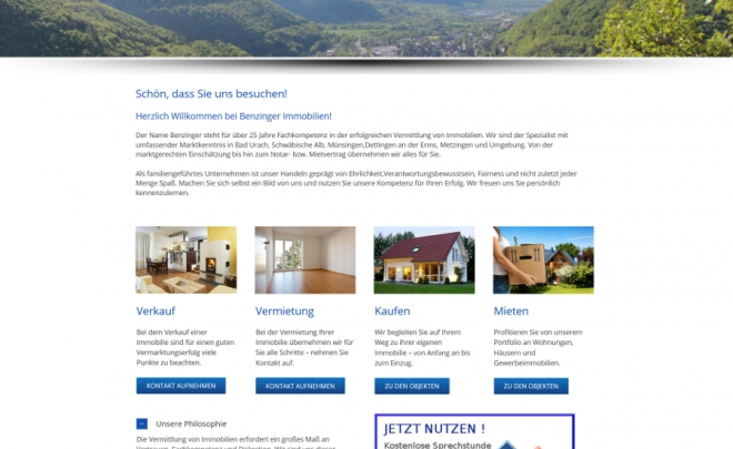 Benzinger Immobilien Bad Urach in neuem Layout