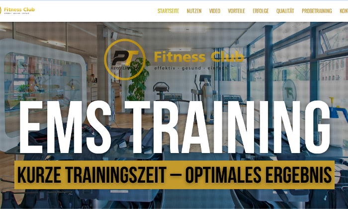 One-Page-Seite Beispiel EMS Training Reutlingen