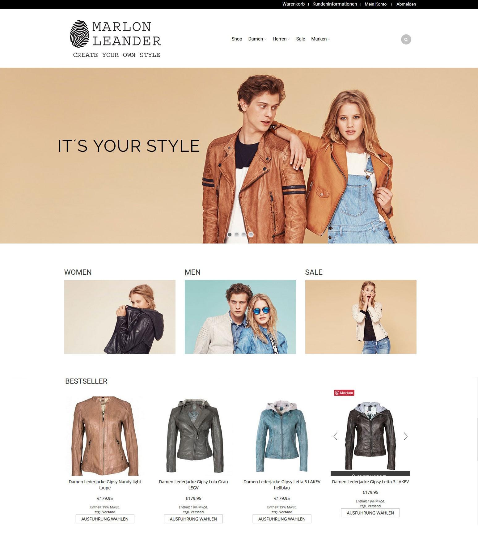 Marlon Leander Leatherware - create your own style - coole Lederjacken für Damen und Herren