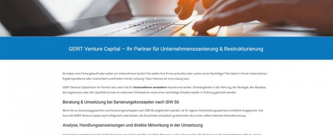 Gerit Venture capital - neue Website online