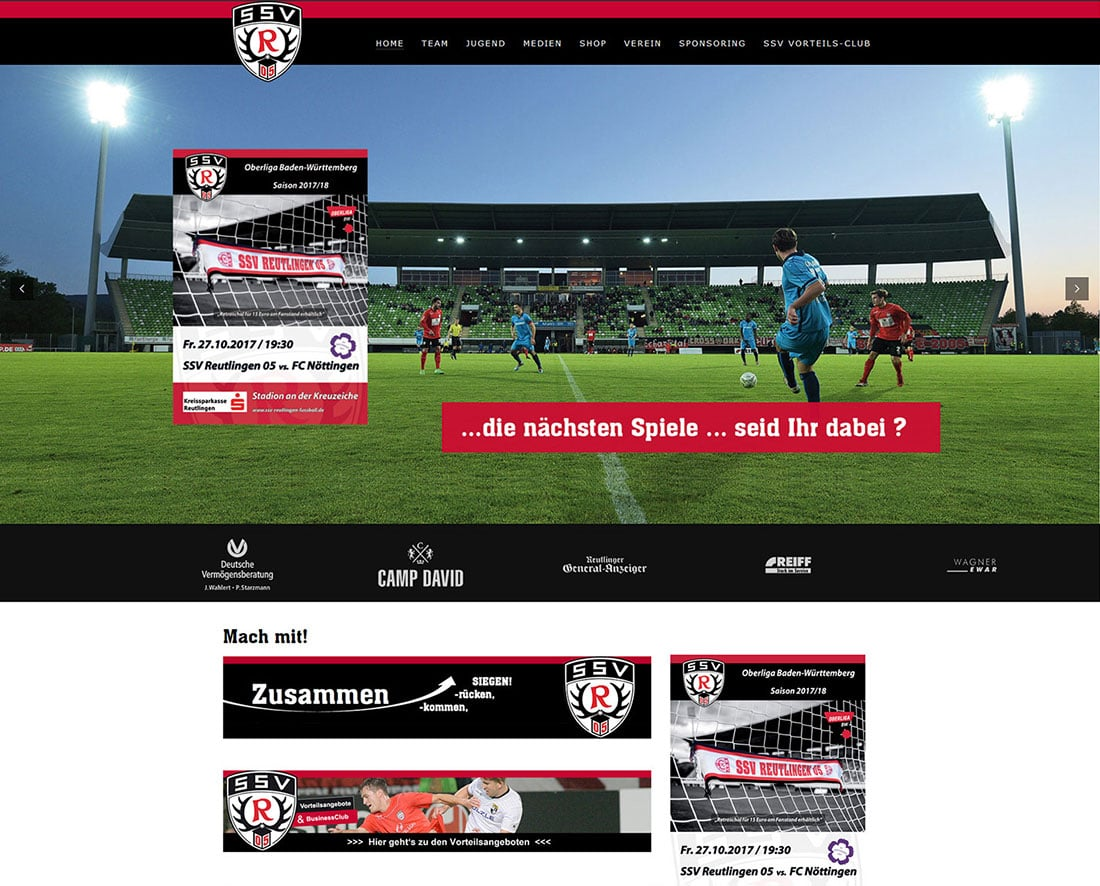 Sponsoring SSV Reutlingen Relaunch durch web by michi
