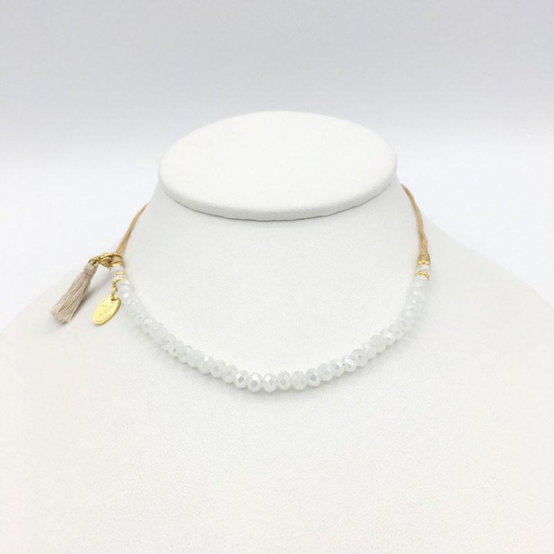 Vadavas-Europe Halskette Damen Mädchen weiß Choker-White-Crystals-1013