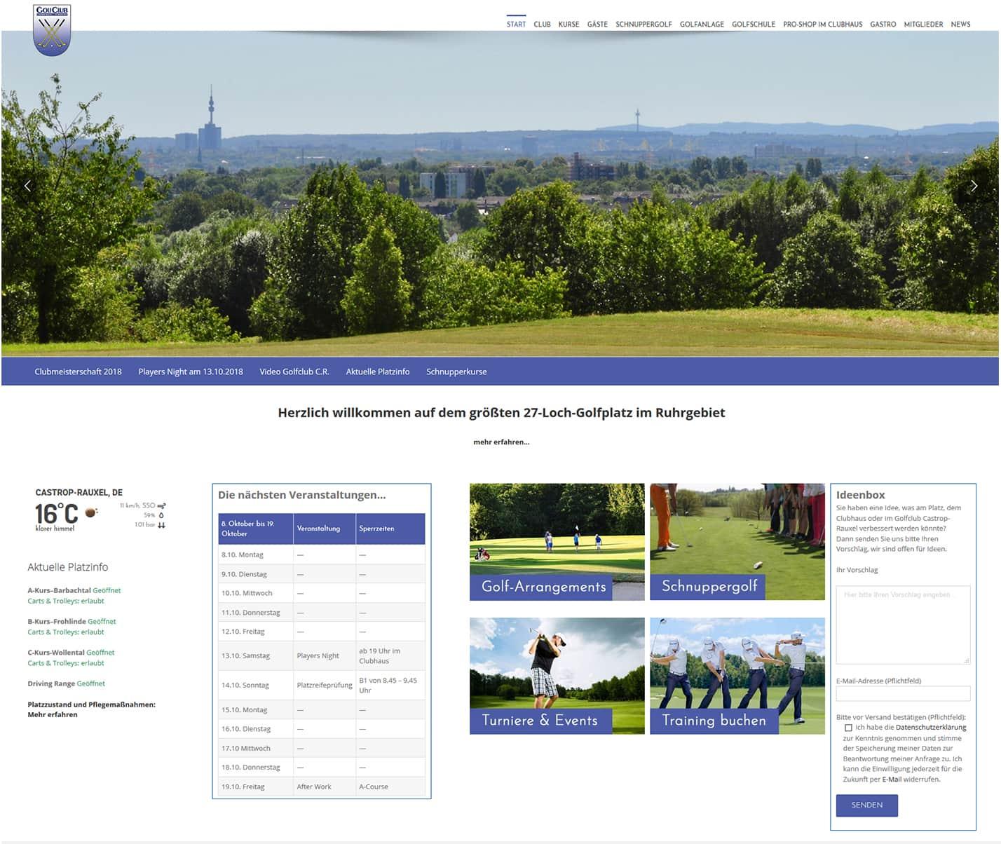 golfclub-castrop-rauxel neue website von web by michi
